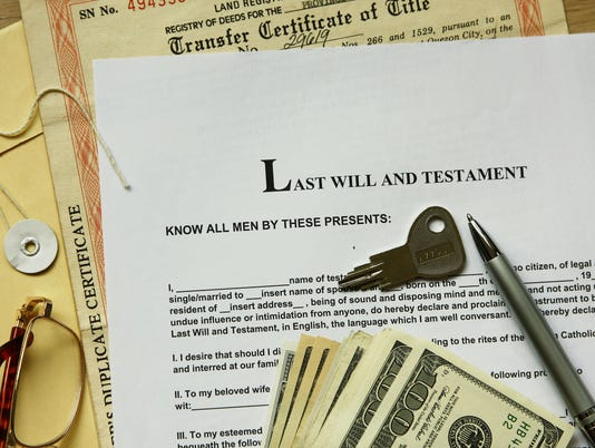 Legal documents for last will and testament on desk