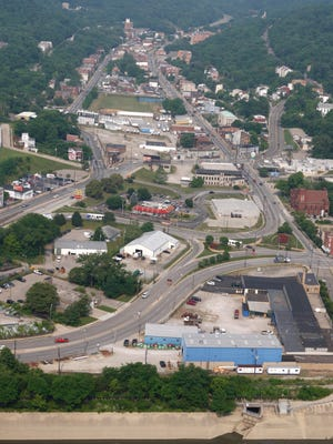 A photo of South Fairmount and it's connection to Interstate 75 before construction began on the Lick Run Greenway,
