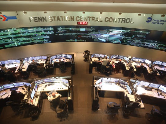Penn Station Central Control where a wall of monitors