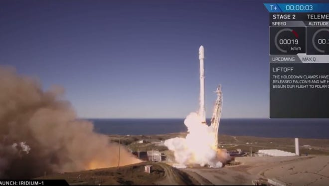 A SpaceX Falcon 9 rocket and 10 Iridium Communications satellites blasted off from Vandenberg Air Force Base in California at 12:54 p.m. EST. The rocket's first stage booster landed on a ship in the Pacific Ocean about eight minutes later.