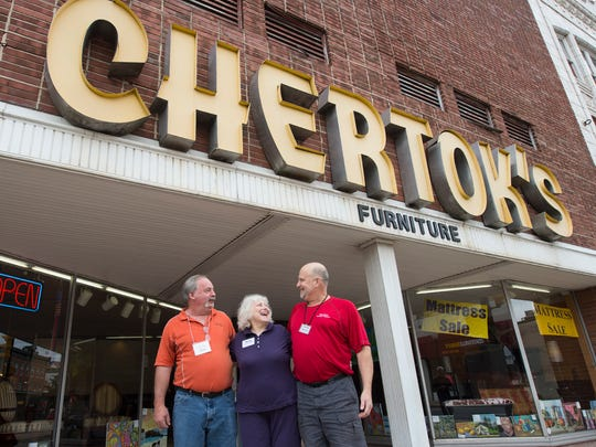 "From the left, Pete Gilbert, Betty Pitcherella and Larry Chertok outside Chertok's Furniture store, founded in 1902, in Coatesville September 26, 2016. Chertok is mystified why people think Trump is some of sort of business savant. ""If I screwed all the people he has screwed out of money...I'd be out of business,"