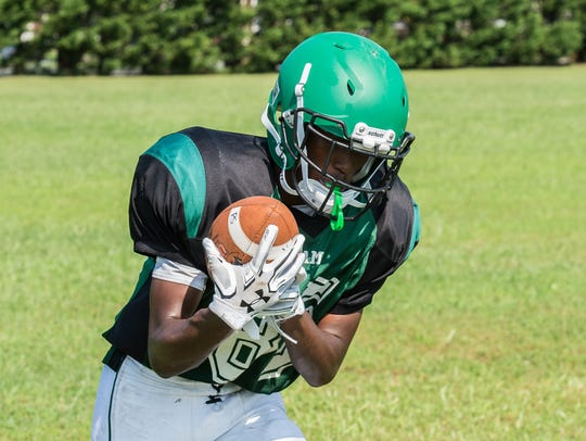 A Parkside player practices a drill on Tuesday, Aug.