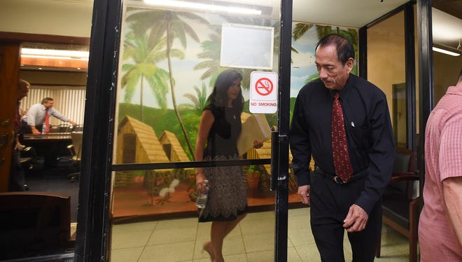 Speaker Benjamin J.F. Cruz exits from a closed door meeting with Gov. Eddie Calvo at the Ricardo J. Bordallo Governor's Complex in Adelup Feb. 26, 2018.