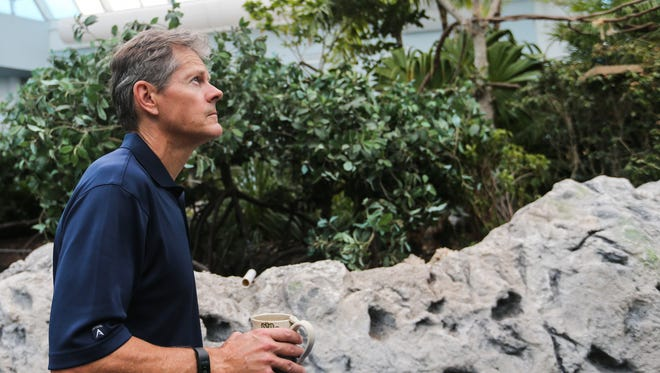 President and CEO Tom Schmid walks through jungle habitat in the Caribbean Journey wing Monday, Aug. 28, 2017, before the Texas State Aquarium reopens after Hurricane Harvey.