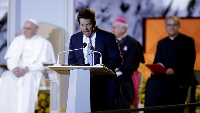 PHILADELPHIA, PA - SEPTEMBER 26:  Actor Mark Wahlberg speaks during the Festival of Families on September 26, 2015 in Philadelphia, Pennsylvania. Pope Francis wraps up his trip to the United States with two days in Philadelphia, attending the Festival of Families and meeting with prisoners at the Curran-Fromhold Correctional Facility. (Photo by Matt Rourke-Pool/Getty Images)