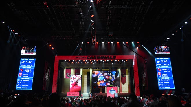 A view of the draft theater during the first round the 2017 NFL Draft at the Philadelphia Museum of Art.