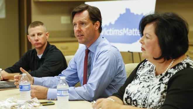 Kentucky auditor Adam Edelen leads a forum at the Women's Crisis Center in Hebron on Tuesday afternoon. Edelen's office is responsible for surveying the amount of untested rape kits throughout the state.