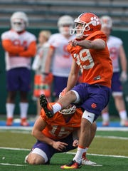 Clemson place kicker Drew Costa (89) kicks a field goal during Clemson's Sugar Bowl practice at Tulane University in New Orleans on Saturday, December 30, 2017.