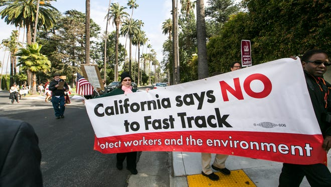 Protesters against the TPP legislation in California.