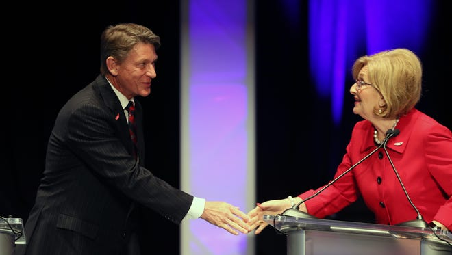 April 18, 2018 - (Left to right) - Randy Boyd greets Diane Black as they participate in the West Tennessee Gubernatorial Debate at the Halloran Center in Memphis on Wednesday.