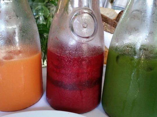 Juicing was featured at the brunch with special recipes for orange, red and green juices.