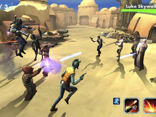 """EA's """"Star Wars: Galaxy of Heroes"""" is an action-heavy role-playing game that lets you collect your favorite (and familiar) heroes and villains from across the galaxy — including Luke Skywalker, Darth Vader, Han Solo and others."""