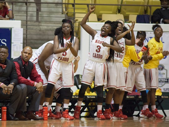 North Caddo's players celebrate in the game against