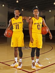 ASU guards Shannon Evans (11) and Tra Holder (0), Wednesday,