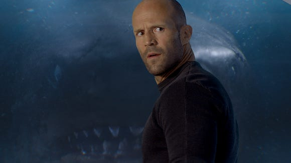 """Jason Statham deals with a water beast in """"The Meg."""""""