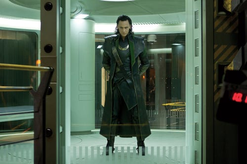 Tom Hiddleston as Loki in a scene from