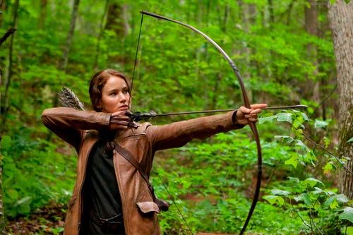 Jennifer Lawrence as Katniss in
