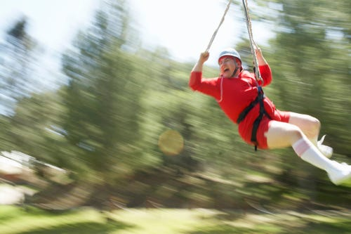 We hope Beth Williamson won't look this terrified when she gets around to taking that ride on a zip line. (Photo: Sean Murphy, Getty Images)