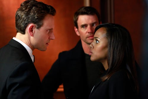 Love triangle! Fitz (Tony Goldwyn), Jake (Scott Foley) and Olivia (Kerry Washington) on ABC's