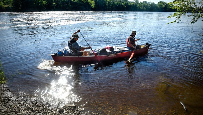 Eric and Daniel Phendler leave the Rotary Park landing Monday, July 16, on the Mississippi River in Sartell. The brothers are planning to paddle the entire length of the river.