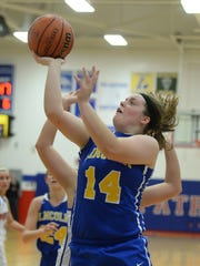 Lincoln's Kerrigan Neff shoots the ball against Union