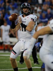 Bearcats quarterback Gunner Kiel during the game against the Memphis Tigers at Liberty Bowl Memorial Stadium.
