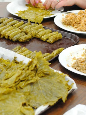 Grape leaves stuffed for the Armenian Food Festival.