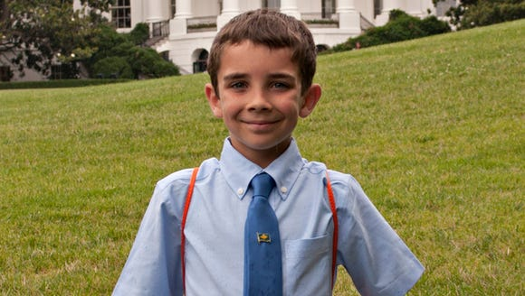 Braeden Mannering at the White House in 2013 as the