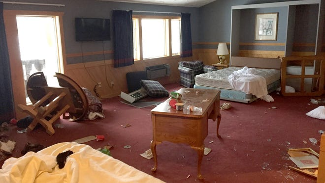 The damage sustained at the Inn at Treetops Resort outside Gaylord in northern Michigan.