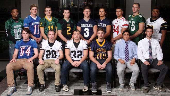 Courier News all area defensive football players, back row from left to right: Jason Lee, South Plainfield; Owen Colwell, Westfield; Mitchell Chugunov, Montgomery; Robert Marron, North Hunterdon; Riley OÕNeil, Immaculata; Alex Hofmann, Immaculata; Sebastian Sanchez, Bernards; Russell Davidson, New Providence; Terrell Hagans, Piscataway. Front row from left to right: Owen Kessler, Westfield; Jon Kaye, Bridgewater-Raritan; Matt Alesando, Bridgewater-Raritan; Derek Kugelman, Delaware Valley; Ben Rengulbai, Ridge; Duncan Roberts, Ridge, Thursday, December 10, 2015.