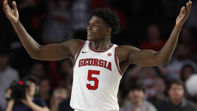 Georgia's Anthony Edwards (5) celebrates during an NCAA game between Georgia and Georgia Tech in Athens, Ga., on Wednesday, Nov. 20, 2019. Georgia won 82-78.