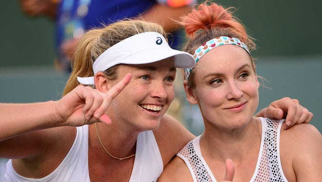 Bethanie Mattek-Sands, right, of Phoenix and Coco Vandeweghe were doubles champions at Indian Wells in March and could be U.S. partners at the Rio Olympics.