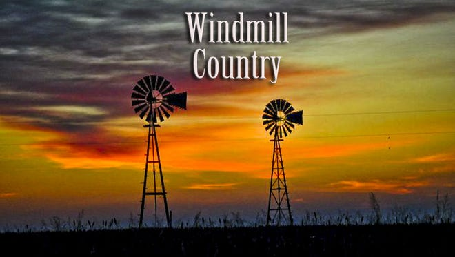 Jerry Lackey Windmill Country Banner - 2 windmills at sunset. Photo courtesy Todd Clarey