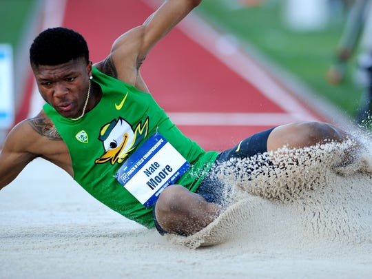 Oregon freshman Nate Moore competes in the long jump during the NCAA Men's Division I 2015 Outdoor Track & Field Championships at Hayward Field, on Wednesday, June 10, 2015, in Eugne, Ore.