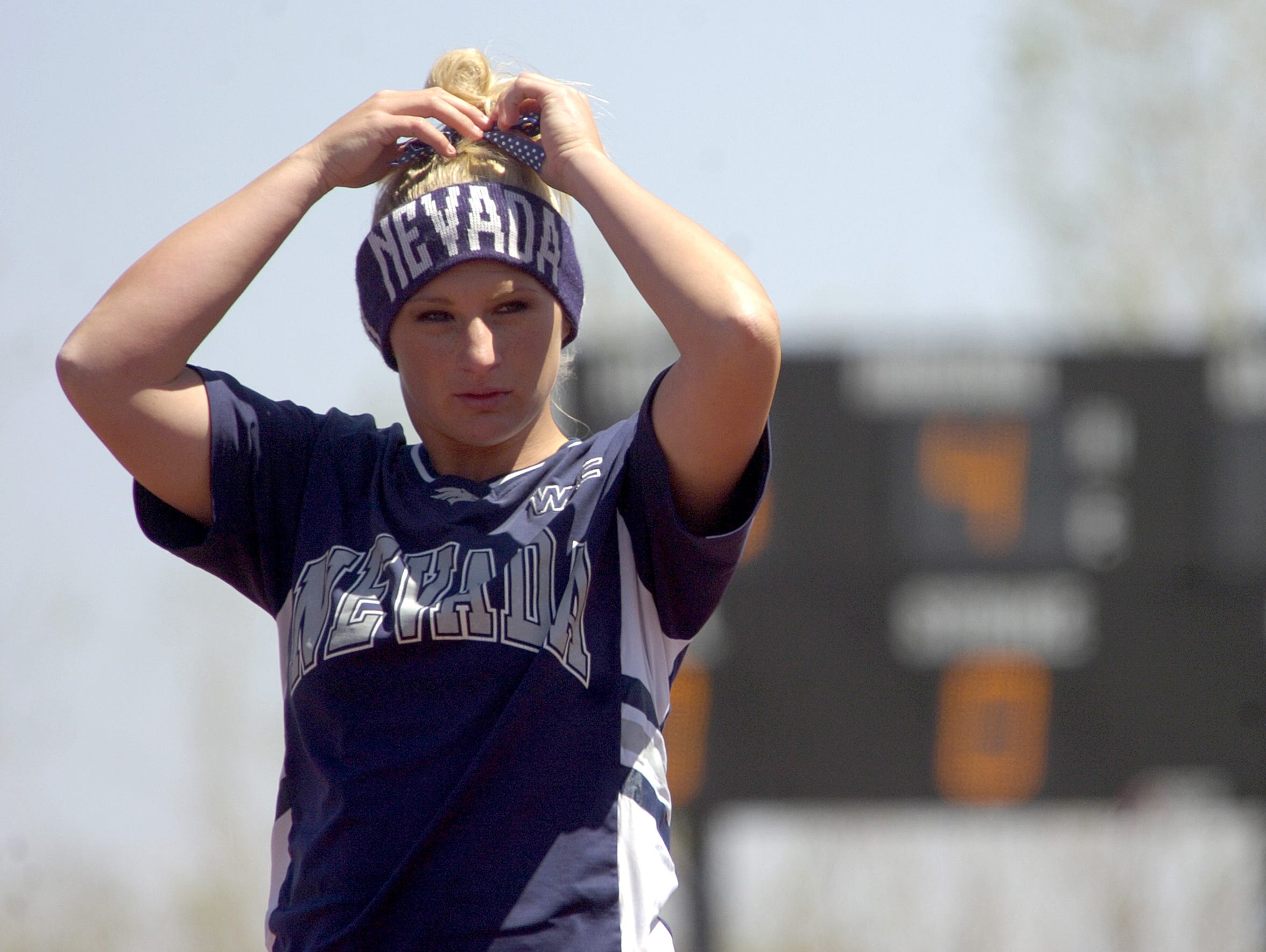 Nevada's Katie Holverson pitched the Wolf Pack past