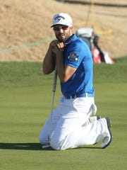 Adam Hadwin reacts to a missed putt on the during the final round of the CareerBuilder Challenge, January 24, 2016.
