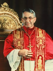 This is a 1978 photo of Pope John Paul I standing before