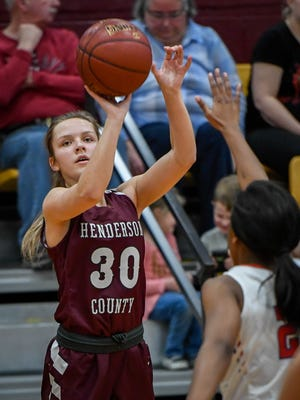 Henderson's Emilee Hope (30) shoot a jump shot as the Henderson County Lady Colonels play the Christian County Lady Colonels in the Second Region semifinals in Dixon Friday, March 2, 2018.