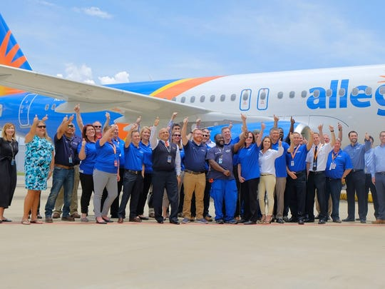 A team of Allegiant employees take delivery of the airline's first U.S.-produced A320 aircraft from the Airbus U.S. Manufacturing Facility in Mobile, Alabama on May 22, 2018.