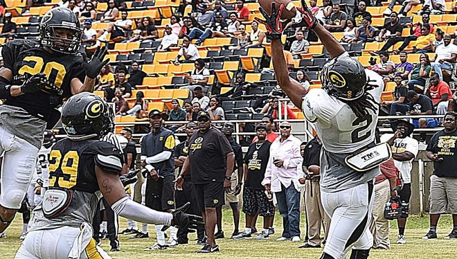 Action from the Grambling spring football game.