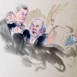 This artist rendering shows security removing a protester against same-sex marriage from the Supreme Court last month.