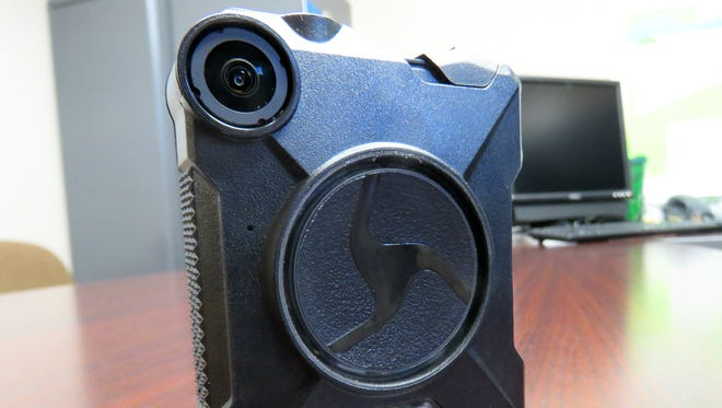 A body camera sits on a desk at the Plover Police Department. The department was the first in Portage County to have body cameras when it got them about five years ago, Plover Police Chief Dan Ault said.