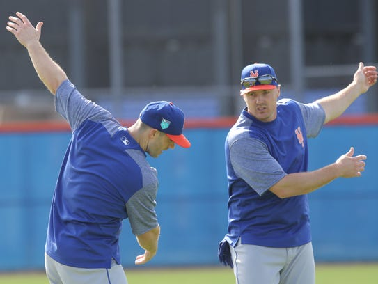 The Mets workout this morning.  David Wright and jay