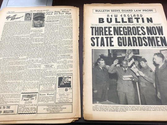 This Nov. 29, 2018 photo shows an original April 23, 1949 copy of the New England Bulletin, a black-owned and operated weekly newspaper in Hartford, Conn.