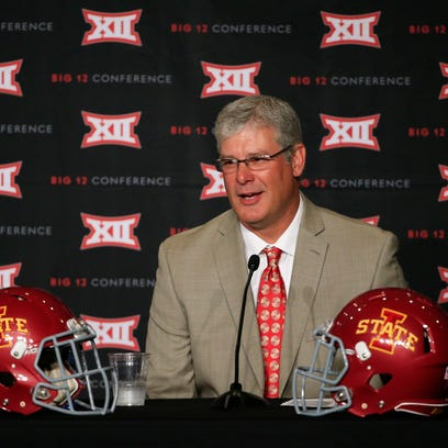 Iowa State Cyclones head coach Paul Rhoads speaks to