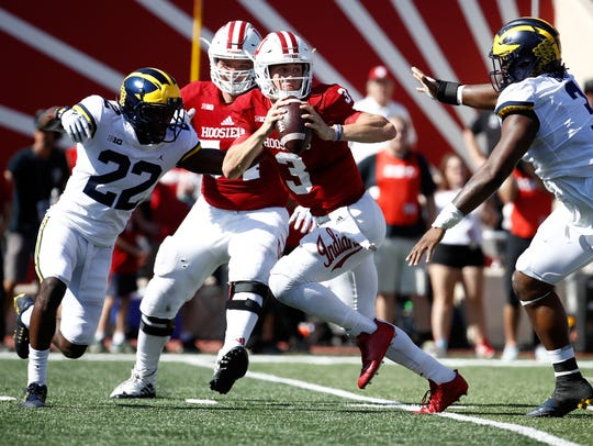 Indiana QB Peyton Ramsey tries to avoid the rush of