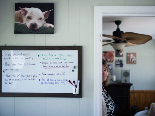 Michele Allen, co-founder of Monkey's House, stands in a room used to house older dogs.