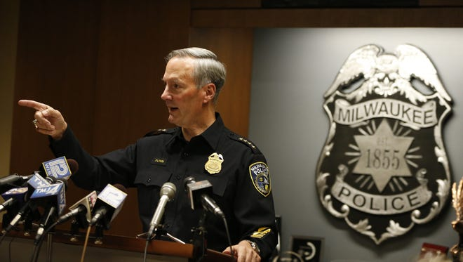 Milwaukee Police Chief Edward A. Flynn responds to questions from reporters during a press conference regarding the sexual assault charges against Officer Dominique Heaggan-Brown.