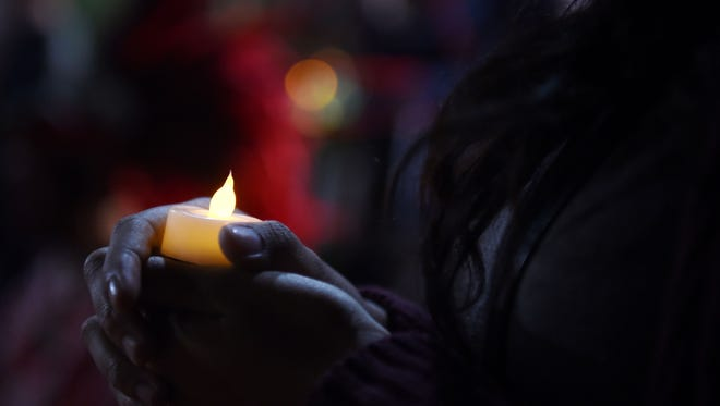A candlelight vigil in Los Angeles on Jan. 26, 2017.