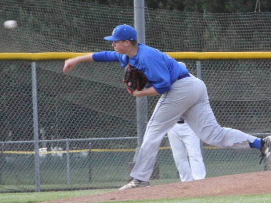 Blanchet freshman Jacob Winstead throws a pitch against Pleasant Hill on Wednesday, May 24, 2017.